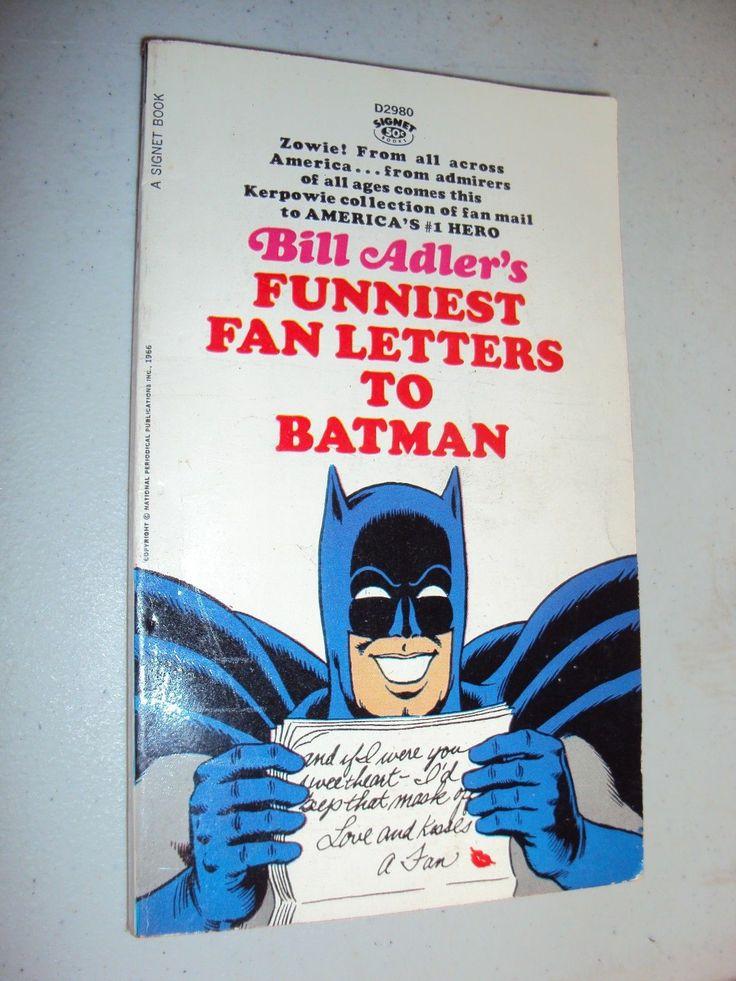 Adam West Funniest Fan Letter to Batman Book by Bill Adler 1966 Signet | eBay