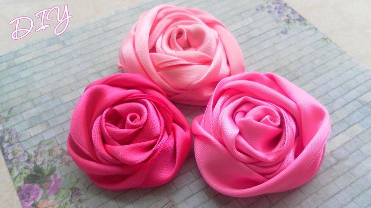 Как сделать плоские Розы из лент/ Ribbon Rose Tutorial / ✿ NataliDoma DIY