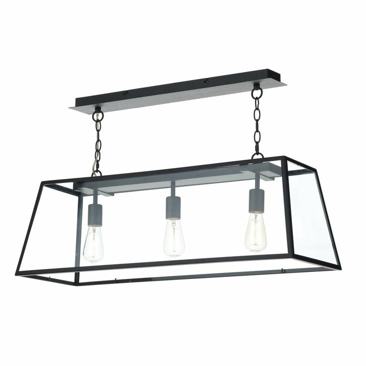 Dar Lighting Academy 3 Light Ceiling Pendant In A Black Finish With Clear Glass Diffuser