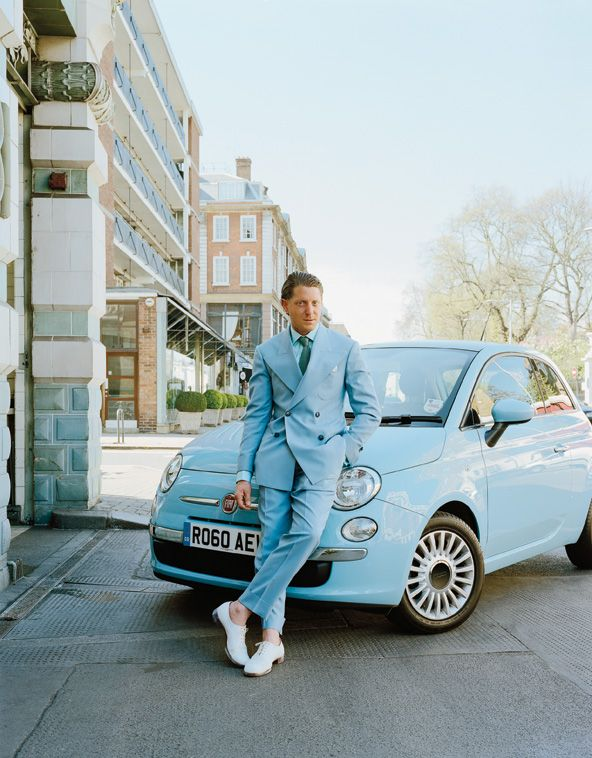 The car, the man both so Italian. Fiat's Lapo Elkann with the iconic Cinquecento.