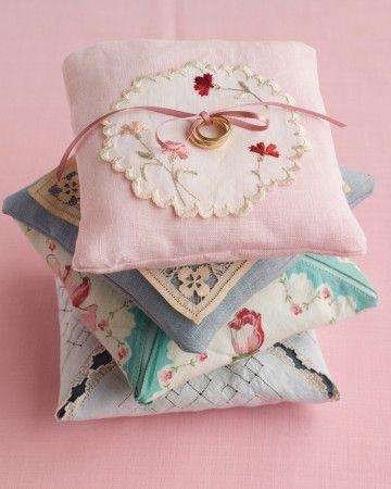 Vintage Linen Ring Pillow
