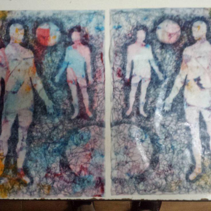 Tintas sobre papel. #collage#abstracto#papel#reciclaje#papel_prensa#papel_publicitario#tecnica_mixta#tinta#estarcido#esténcil#papel_reutilizado#morenoamor#esténcilart