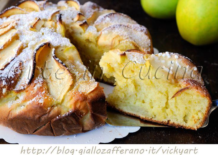 Torta morbida di ricotta e mele al limone, ricetta facile, ricotta di bufala, dolce da merenda o colazione, torta veloce, senza burro, senza olio, dolce con mele