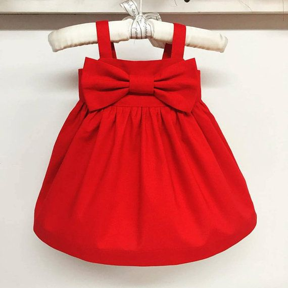 Red Bow dressChristmas dresssimple girls by SweetWhitePeony