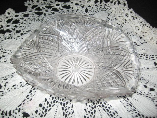 Press Glass Bowl With Curved Edging Decorative Glass Bowl 1960's Glass Decor Dish by CollectorVintageShop on Etsy