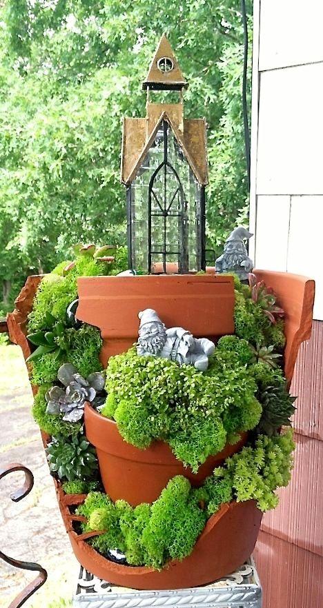 25 maceteros rotos que puedes convertir en hermosos jardines de hadas                                                                                                                                                                                 Más