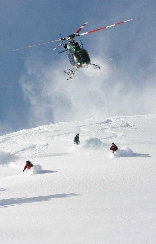 Heliskiing-snowboarding. Fuck yes!