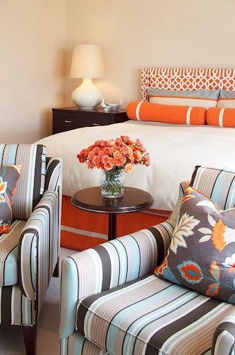 Orange, Grey Blue Bedroom! Love The Colors