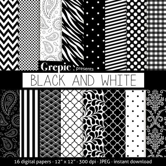 Black and white digital paper BLACK AND WHITE by Grepic on Etsy, $4.90