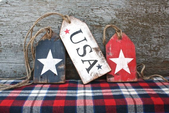 FREE SHIP USA Wood Tags Patriotic Memorial DAY STAR 4TH of July Americana folk art  by TheUnpolishedBarn