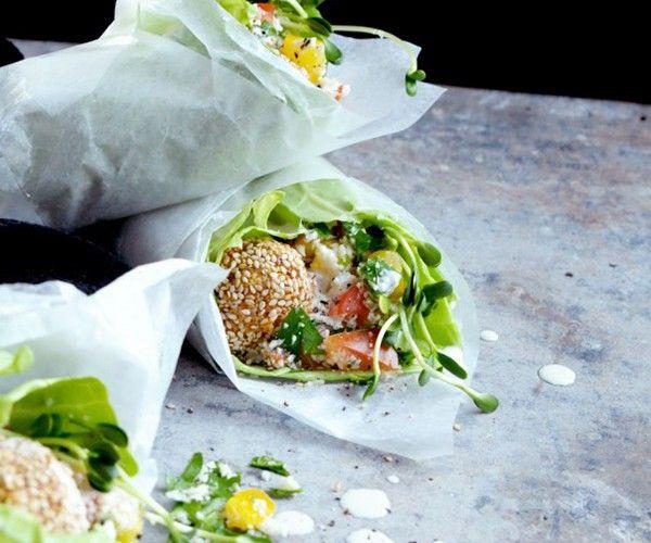 Luxe falafel in wraps van witte kool