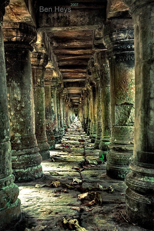 Long stone corridor in temple ruins around Siem Reap, Cambodia.  Travel photography around SE Asia    #photography #travel #Cambodia