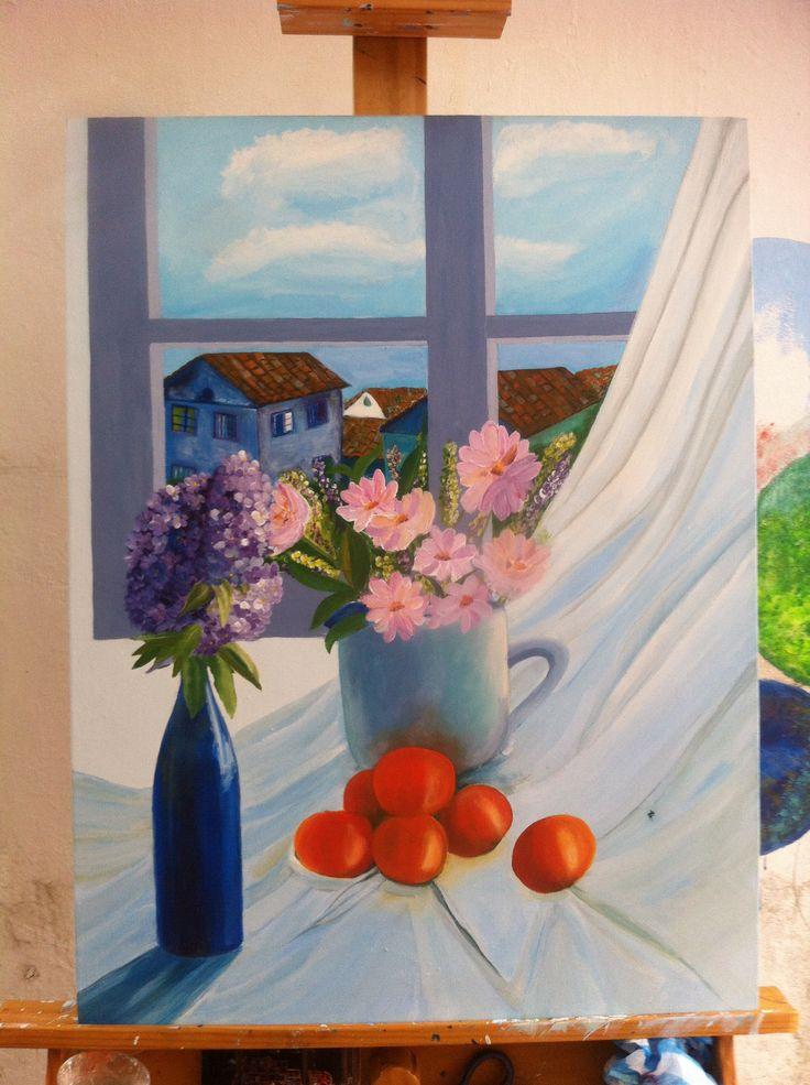 Acrílico Sobre lienzo .Bodegón en colores Fríos  Yass Moya.