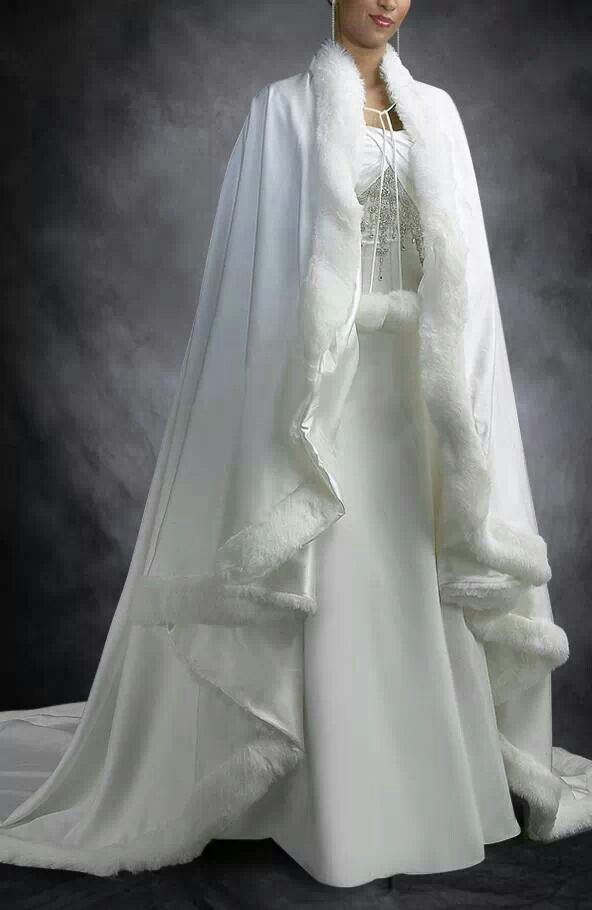843 best winter wedding images on pinterest winter for Wedding dress with a cape