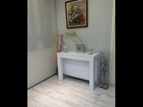 mesa consola extensible con pata giratoria en laca blanca y extensible hasta 3 metros, diseño e ingenio se unen en este mobiliario de fabricación nacional http://www.mesaconsolaextensible.com/140-pata-giratoria.html