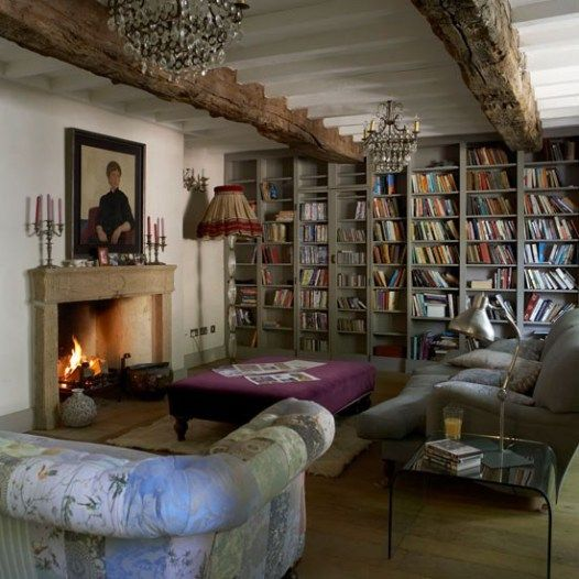 historical country cottage interior - library