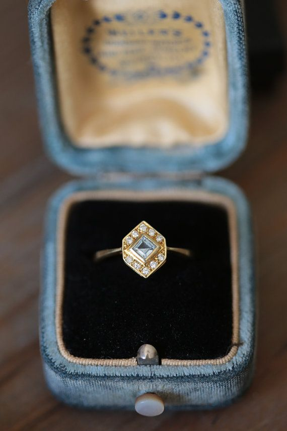 Vintage Engagement Ring, Art Deco Engagement Ring, Geometric Aquamarine and Diamond Ring, Gold and Blue Ring, Antique Fine Jewelry on Etsy