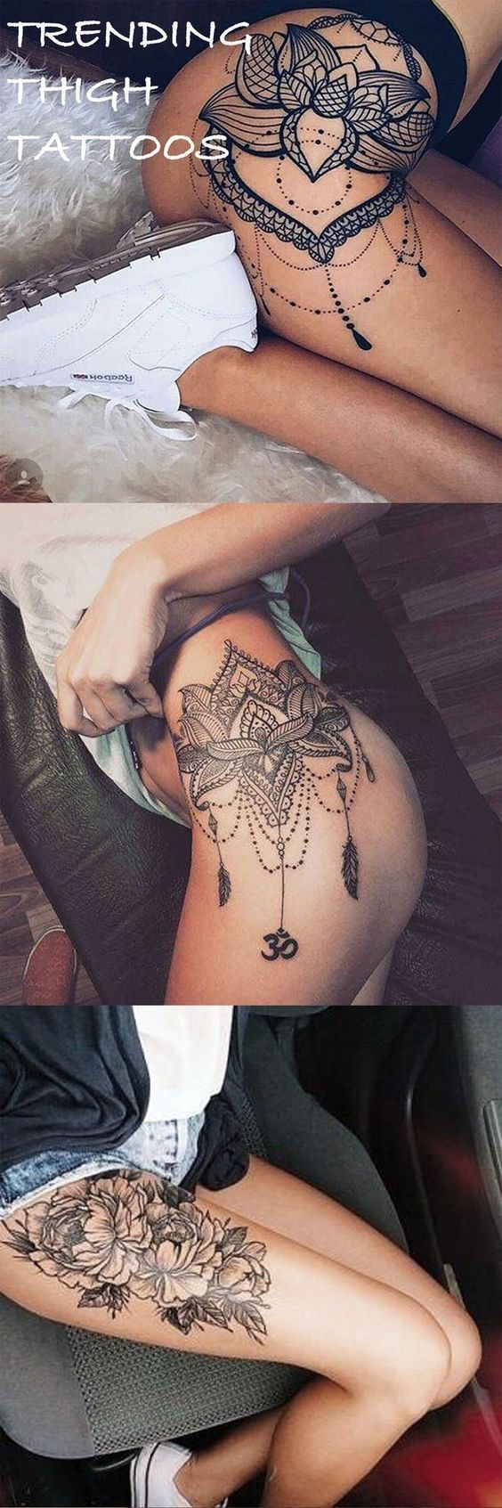 Thigh Hip Side Tattoo Ideas with Lace Mandala and Floral Flowers at MyBodiArt.com