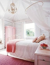girls room - pink, white
