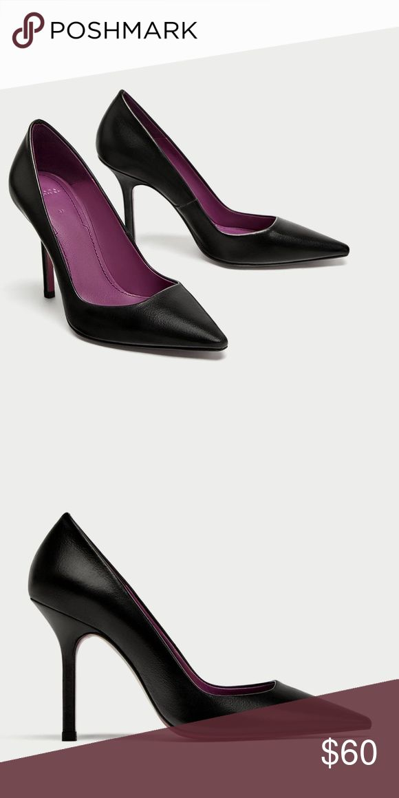 ZARA HIGH HEEL LEATHER COURT SHOES Black 100% leather high heel shoes. Stiletto heels. Pointed toes.  Heel height of 9.5 cm. / 3.7″ Zara Shoes Heels