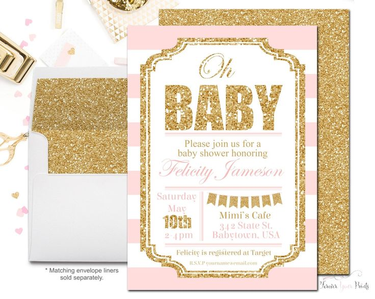Pink and Gold Baby Shower Invitation, Girls Baby Shower Invite, Glitter Baby Shower, Printable Baby Shower, Striped Baby Shower, Oh Baby by ForeverYourPrints on Etsy https://www.etsy.com/listing/75461548/pink-and-gold-baby-shower-invitation