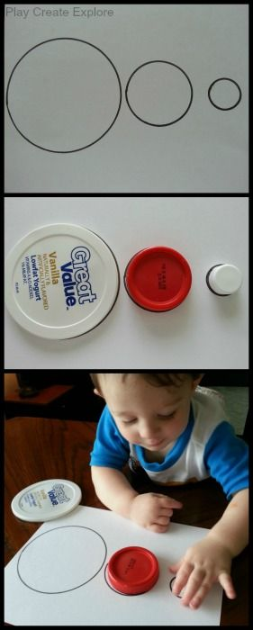 Tracing Bottle Caps and Lids to Make an Outline Matching Activity/Puzzle.