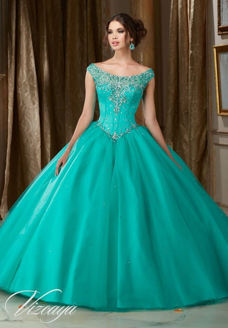 Jeweled Beaded Satin Bodice on a Tulle Ball Gown #89108AQ - Joyful Events Store