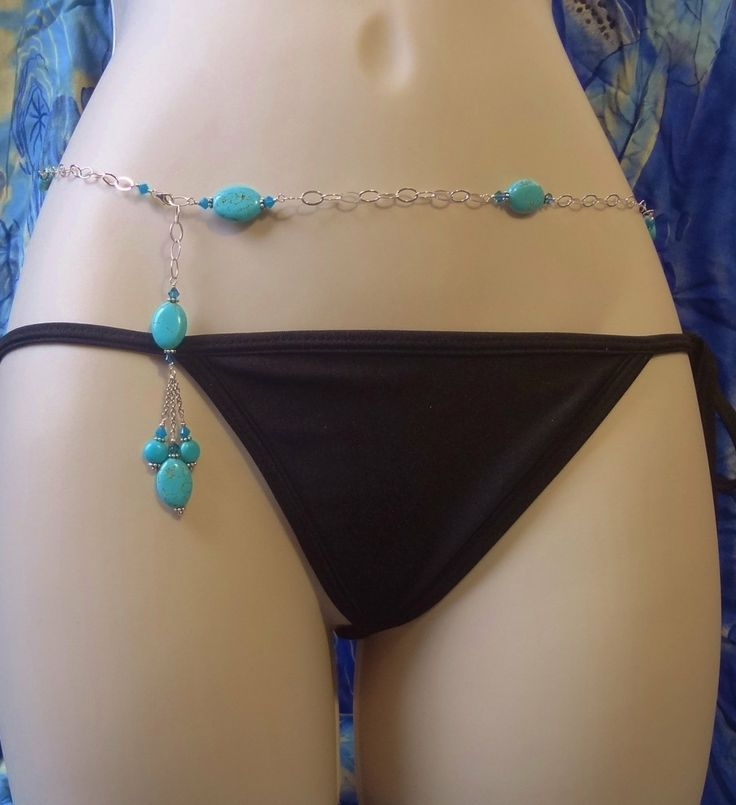 Belly Chain Body Chain Belt Sterling Silver Turquoise by sexy2wear, $58.95
