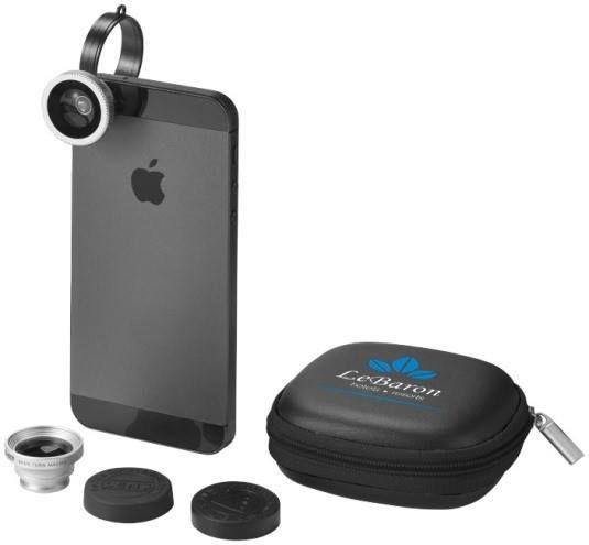 SET LENTI PER SMARTPHONE FIVEN  Set di lenti per smartphone in metallo e ABS, utile a rendere più creative le tue foto. La lente va semplicemente agganciata allo smartphone per fare foto con fisheye, grandangolo ed effetti macro.
