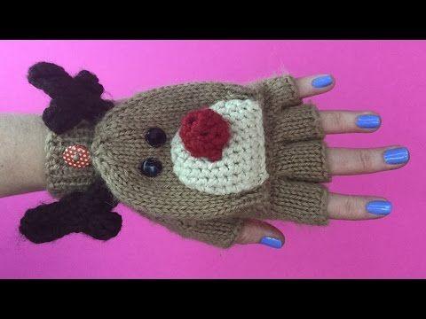 CHRISTMAS GLOVES PART 2 - Fingerless Gloves With Rudolph design - YouTube
