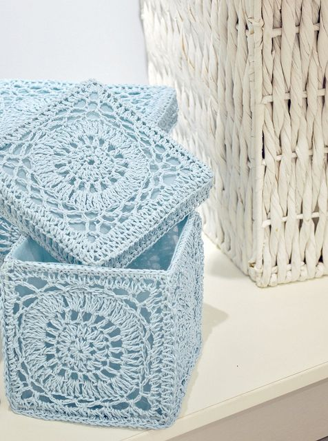 Vintage Bathroom #Crochet storage boxes. Crochet instpiration - great idea with many variations possible.