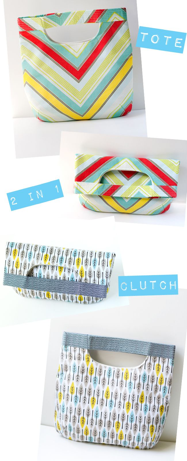 Tote-torial :o)  Very cute Handle-bag to Fold-over clutch bag