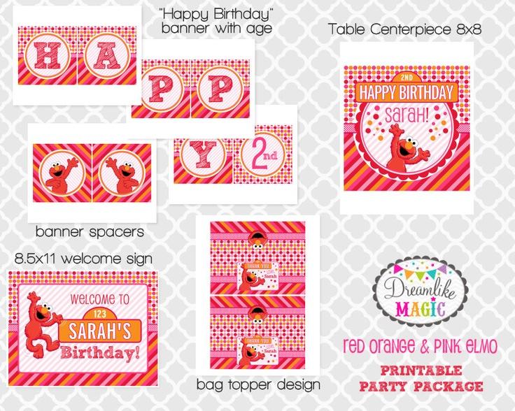 Red Orange and Pink Elmo- DIY Printable Party Package. $20.00, via Etsy.