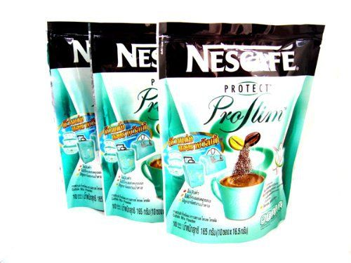 Type: 3 in 1 Instant Coffee Mix Brand: Nescafe Variant: Protect Proslim Condition: New in package with factory seal General information: A blend of roasted and green coffee bean with nutrition from white kidney bean extract and dietary fiber giving you a real taste of coffee and a slimming body.... more details at http://supplements.occupationalhealthandsafetyprofessionals.com/weight-loss/supplements/green-coffee-bean-extract/product-review-for-3-x-nescafe-protect-proslim-pro