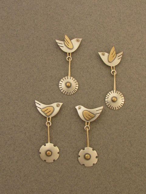 Birds &flowers earrings