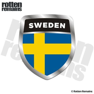 Sweden Flag Shield Badge Sticker Decal