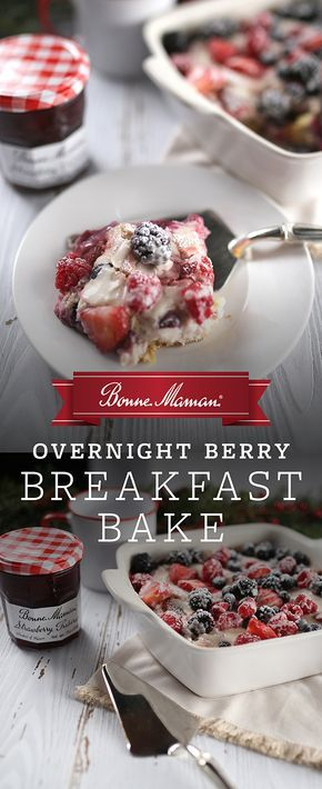 Overnight Berry Breakfast Bake- Prep this Berry Breakfast Bake the night before and enjoy an easy, stress-free treat on Christmas morning. Layered with buttery croissants, fresh berries, and our classic Bonne Maman Strawberry Preserves � this is the perfect way to start the day.