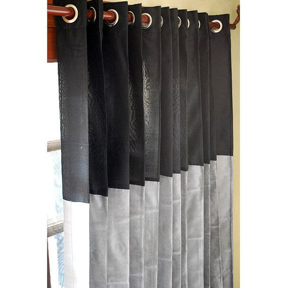 Black And Silver Curtain Panels 52x84 Grommet Drapes by FabricMart, $99.00