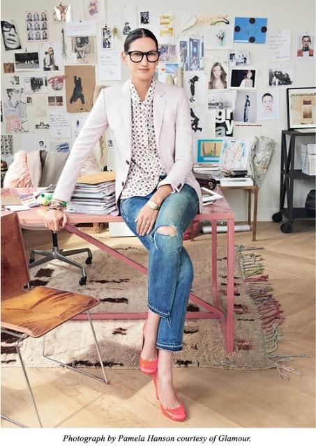 Jenna Lyons - white blazer, polka dot tee, boyfriend jeans