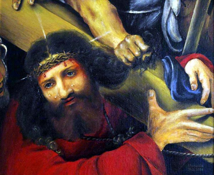 Christ carrying the cross of, artist Peter Pavluvčík, theme Lorenzo Lotto, 1526, 66x60 cm, Louvre, Paris, 2001, oil, cardboard coated canvas, 31 x 26 cm.