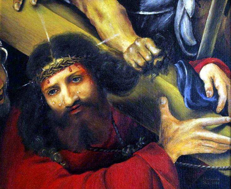 Christ carrying the cross of, artist Peter Pavluvčík, theme Lorenzo Lotto, 1526, 66x60 cm, Louvre, Paris, 2001, oil, cardboard coated canvas, 31 x 26 cm.
