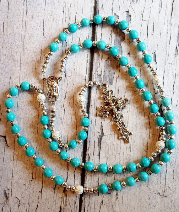 Stunning Blue & Silver Traditional Catholic by BlueWorldTreasures