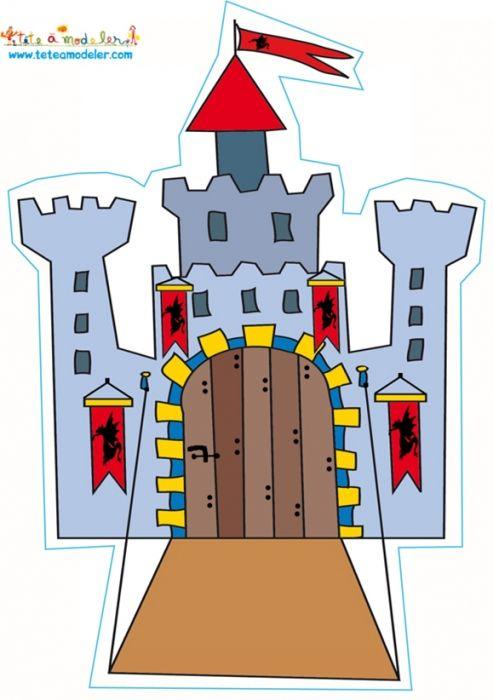 coloriage Décoration chateau au pont-levis
