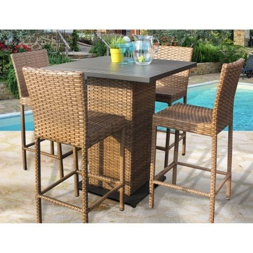 Miseno MPF-Lgnapubkit-4 Southern California 5-Piece Aluminum Framed Outdoor Pub Set and Solid Back Barstools, Caramel Wicker, Outdoor Décor