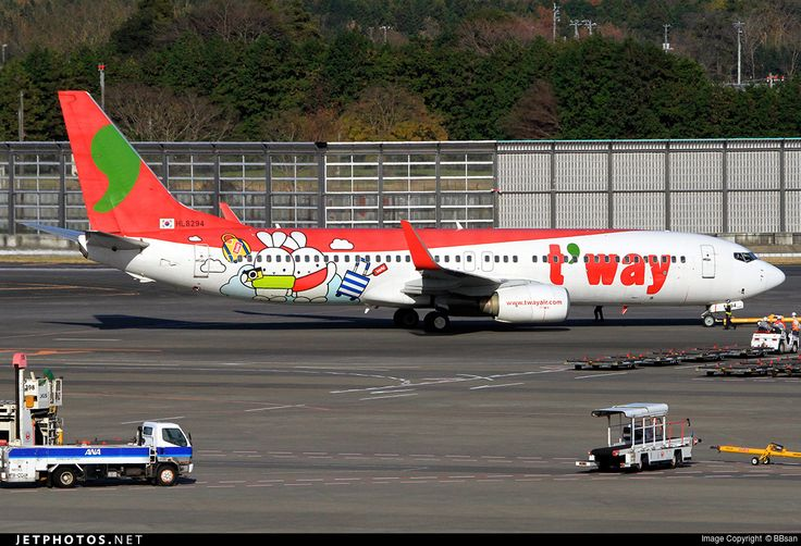 T'Way Airlines (KR) Boeing 737-8Q8 HL8294 aircraft, with the sticker ''Travel with Booto'' on the airframe, skating at Japan Tokyo Narita International Airport. 08/12/2016. (Booto=a shy rabbit).