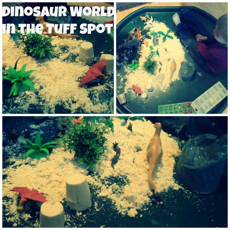 dinosaur world in the tuff spot- sensory play with moon sand