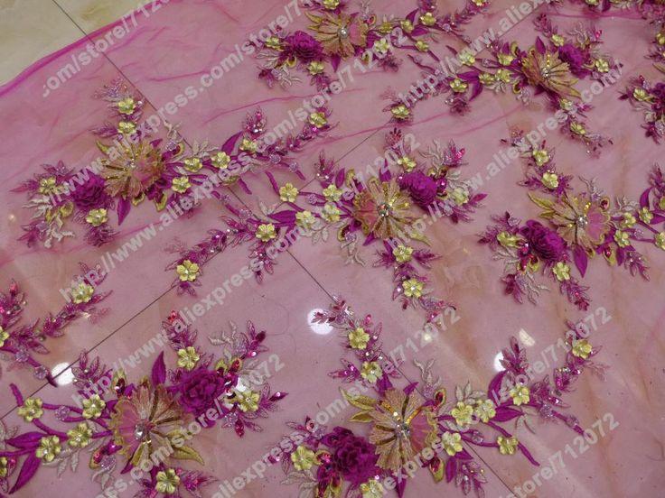Синий 3D цветы ручной работы платье ткань из бисера блестками 3D вечернее свадебное платье ткани продаж со дворакупить в магазине Hong Kong Sino Garment Accessories Co., LtdнаAliExpress