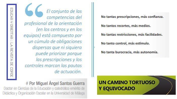 """""""El camino tortuoso de la #OrientaciónEducativa"""" por M.Á. Santos Guerra en http://www.copoe.org/revista-copoe-educar-y-orientar … #orientachat"""