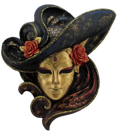 Hat With Roses Mask Wall Plaque