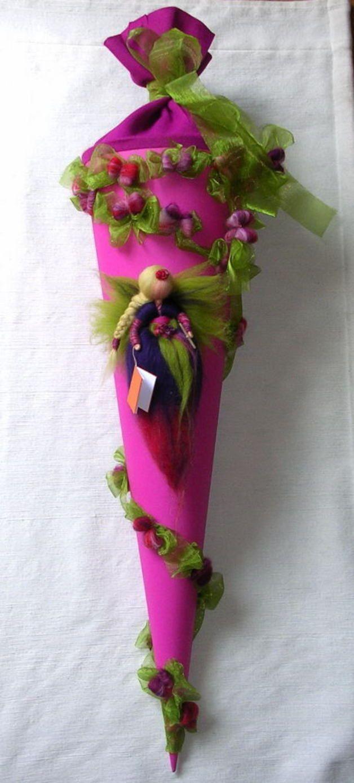 Schultüten - SCHULTÜTE*Waldorf Art*FEE*Elfe*Märchenwolle* - ein Designerstück von Holzwolle-Spielkunst bei DaWanda